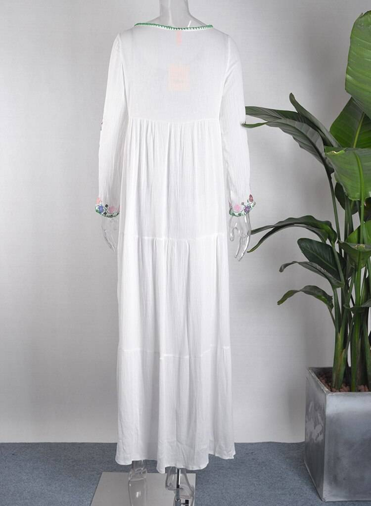 cotton floral embroidered maxi dress o-neck tassel long Sleeve white Summer dresses Vintage boho chic women dress brand clothing