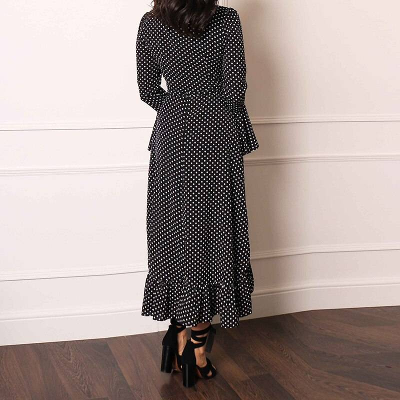 HiloRill Long Maxi Dress For Womens Polka Dot Ruffle Wrap Dress V Neck Flare Sleeve Boho Split Dress Ladies Casual Tunic Dresses