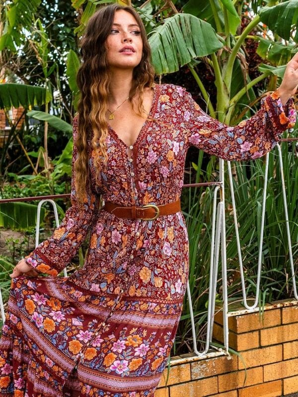 Boho sexy deep v-neck long sleeve gypsy maxi dress