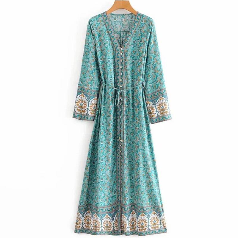 TEELYNN flare long sleeve maxi Dress Women vintage cotton floral print deep V-neck fall Autumn Dresses Boho beach Vestidos robe