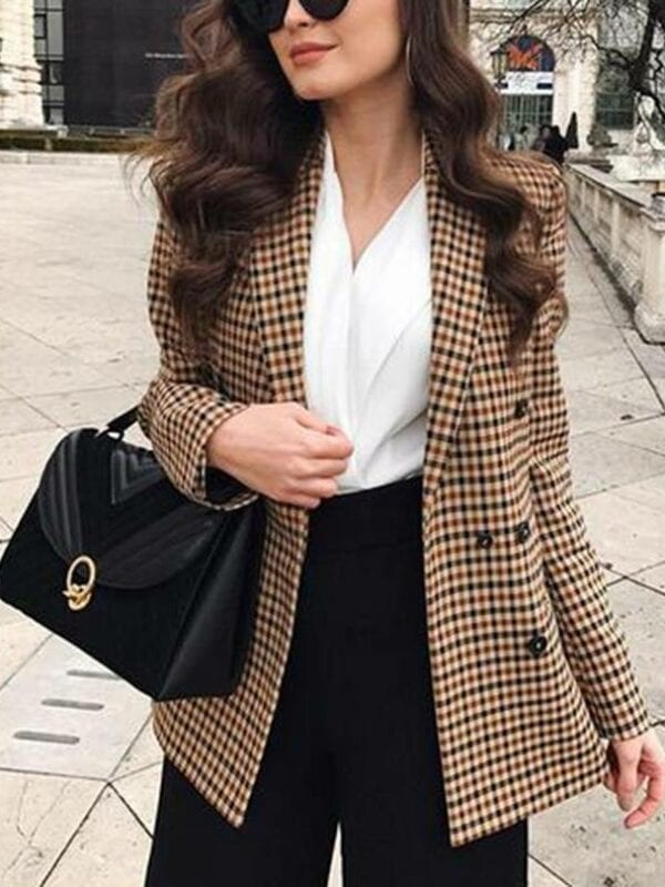 Plaid slim double breasted jacket