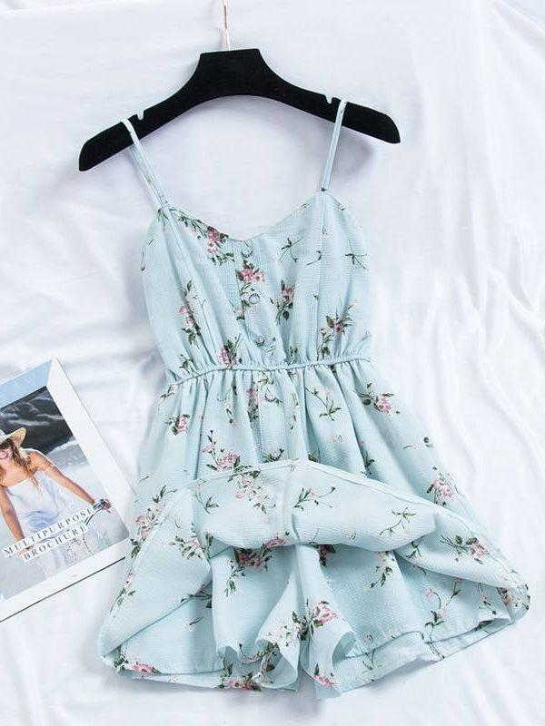 Bohemian print thin strap sleeveless dress