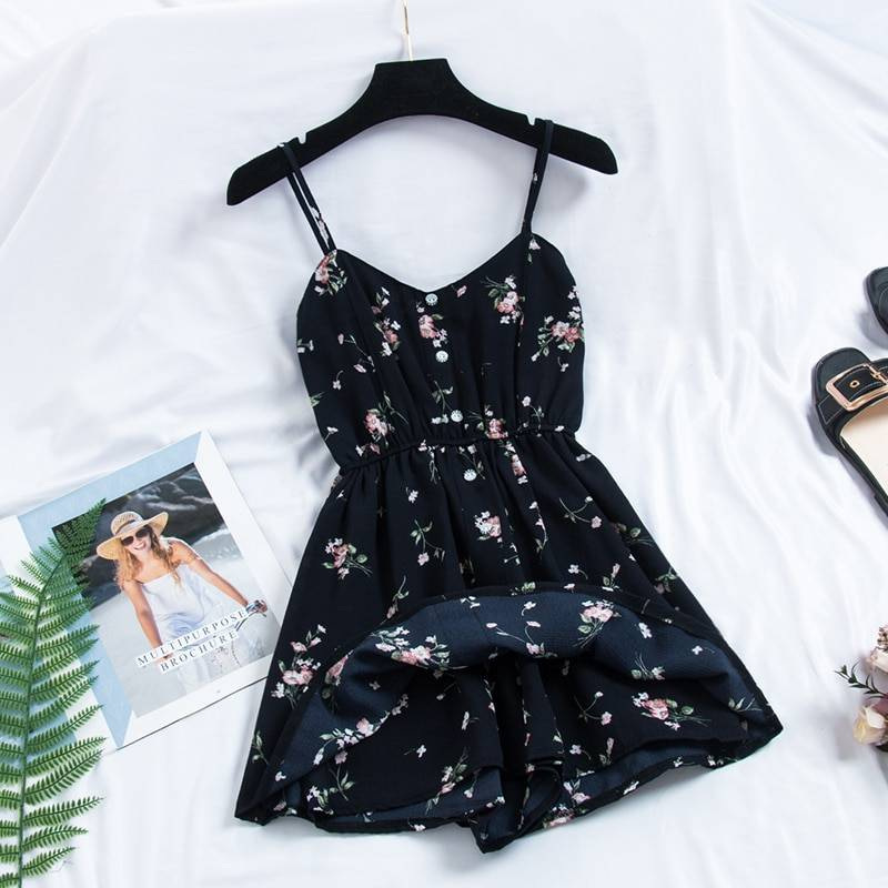 Bohemian Print Thin Strap Sleeveless Dress 5