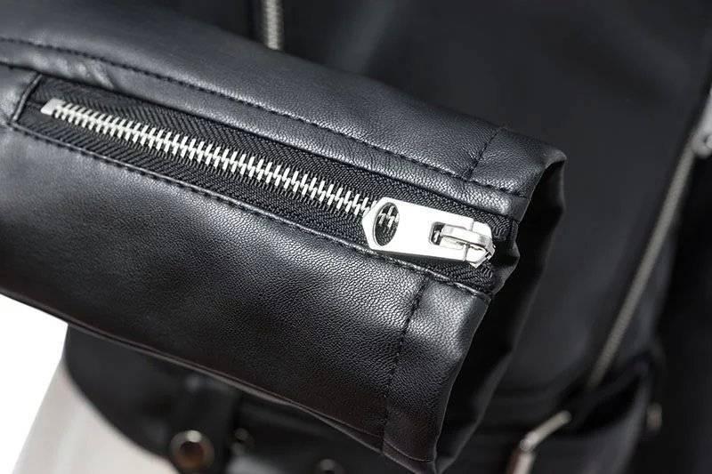 FTLZZ New Women Autumn Winter Black Faux Leather Jackets Zipper Basic Coat Turn-down Collar Motor Biker Jacket With Belt