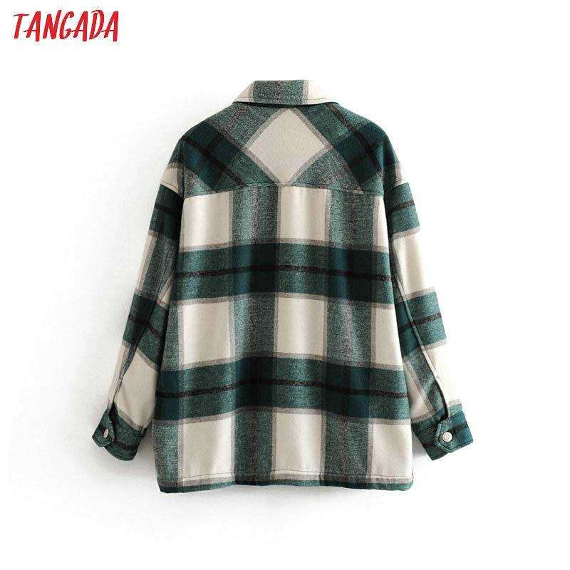 Tangada 2020 Winter Women green plaid Long Coat Jacket Casual High Quality Warm Overcoat Fashion Long Coats 3H04