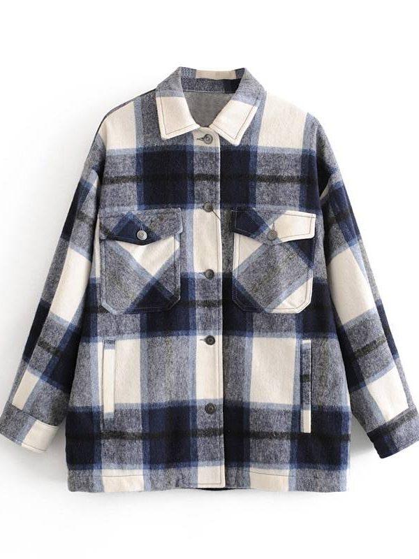 Long plaid jacket