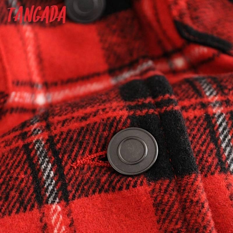 Tangada 2020 Winter Women green plaid Long Coat Jacket Casual High Quality Warm Overcoat Fashion Long Coats 3H04