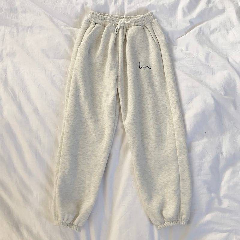 Mooirue Winter Women Harem Pants Stripes Embroidery Gray Black Fleece Pants Bottom
