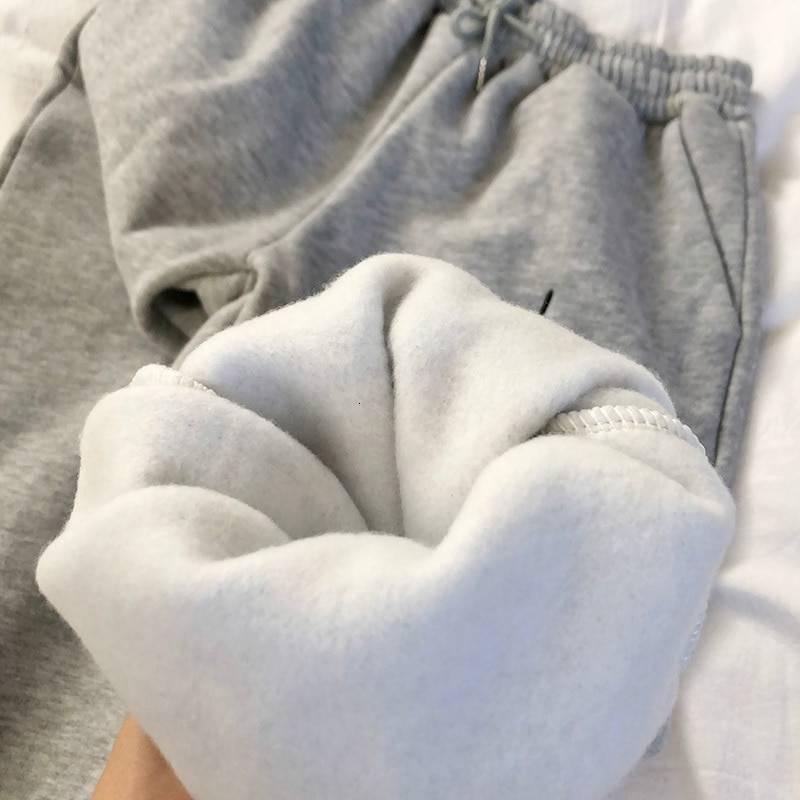 Harem stripes embroidery fleece pants