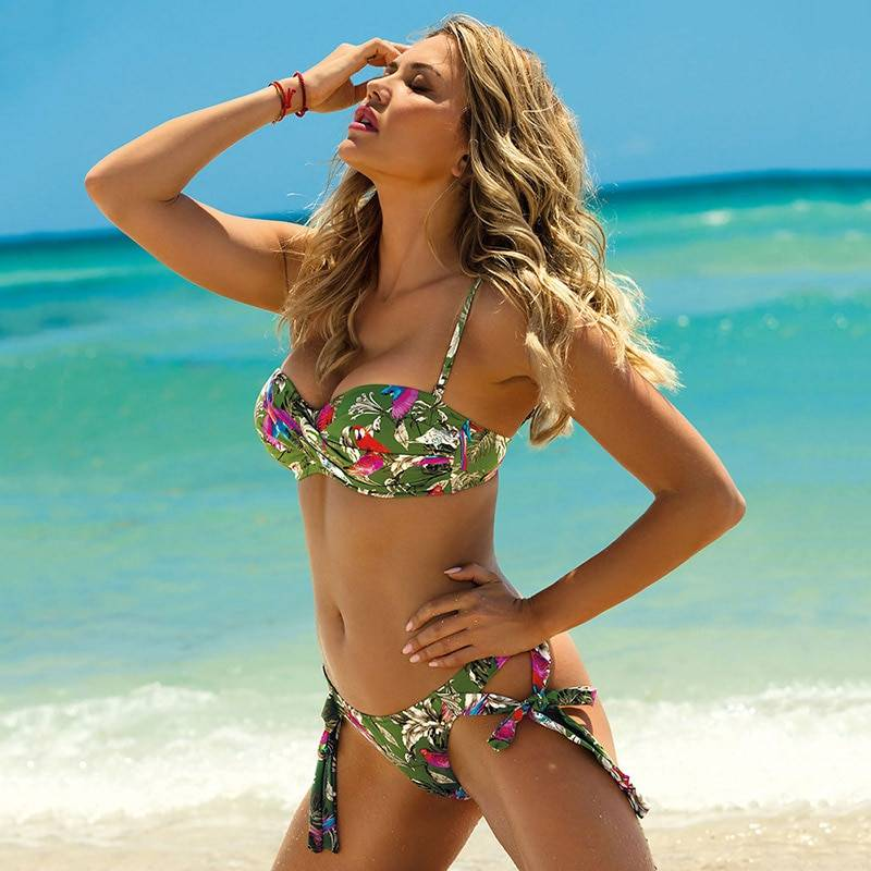2020 New Leaves Print Bikini Swimsuit Women Push Up Bikini Set Bandeau Swimwear Bathing Suit Brazilian Biquini Female