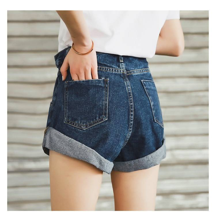 Streamgirl Denim Shorts Women's White Women Short Jeans Khaki Wide Leg Elastic Waist Vintage High Waist Shorts Women Summer