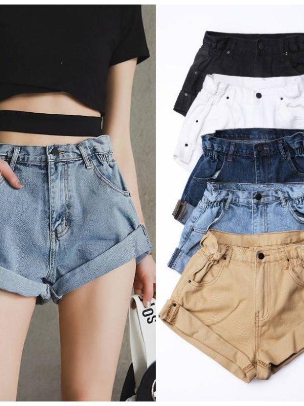 Wide leg elastic waist vintage high waist denim shorts