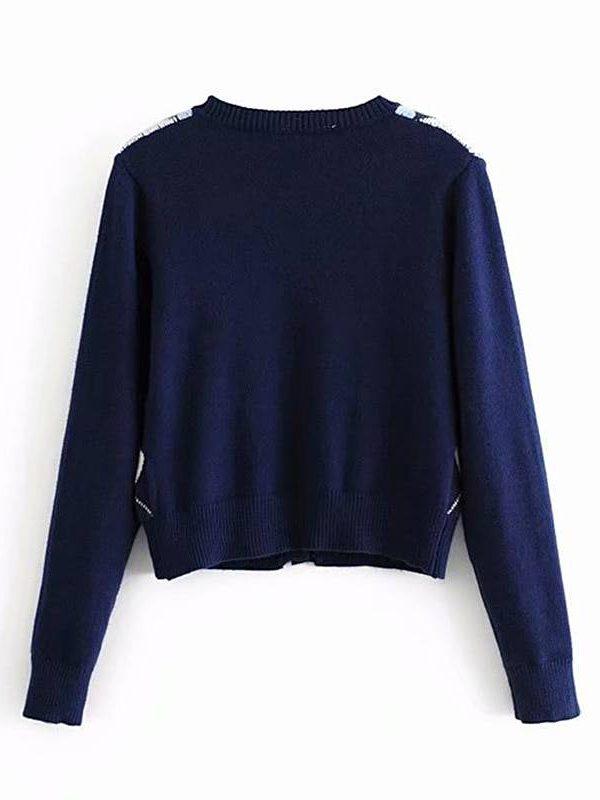 Vintage geometric rhombic cardigan sweater