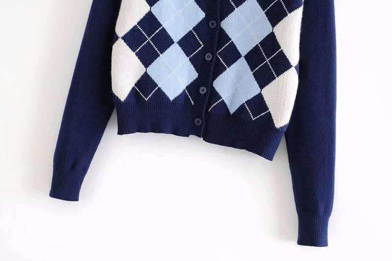 vintage stylish geometric rhombic cardigan sweater women 2020 fashion autumn warm long sleeve outerwear chic england style tops
