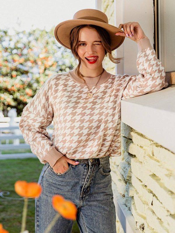Geometric knitted sweater