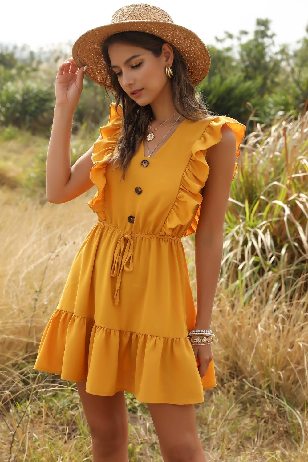 Forefair Sexy Women Dress Ruffle 2020 Off Shoulder Tunic High Waist Party V Neck Casual Boho Beach Yellow Women Summer Dress