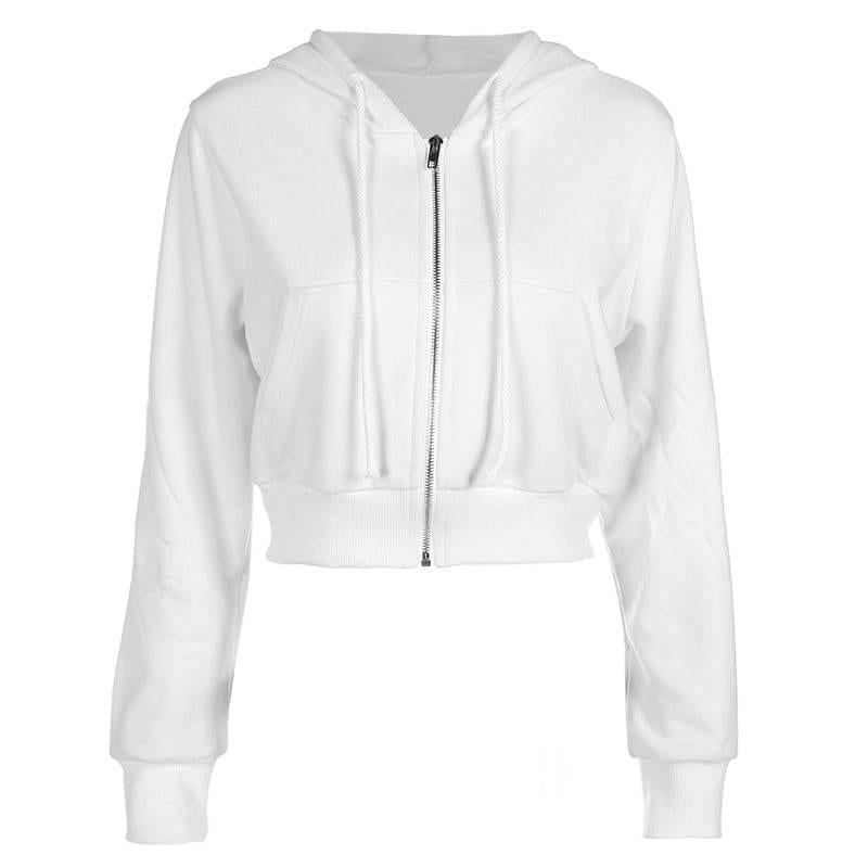 Fitshinling Zip-up autumn winter women hoodies pockets slim crop jacket female clothes drawstring white sexy hoody cotton coats