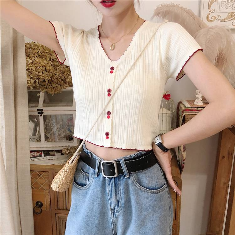 HELIAR Women T-shirts Knitted Crop Tees Female Cute Sweet Buttoned Up V-Neck Solid Casual T-shirts For Women 2020 Autumn