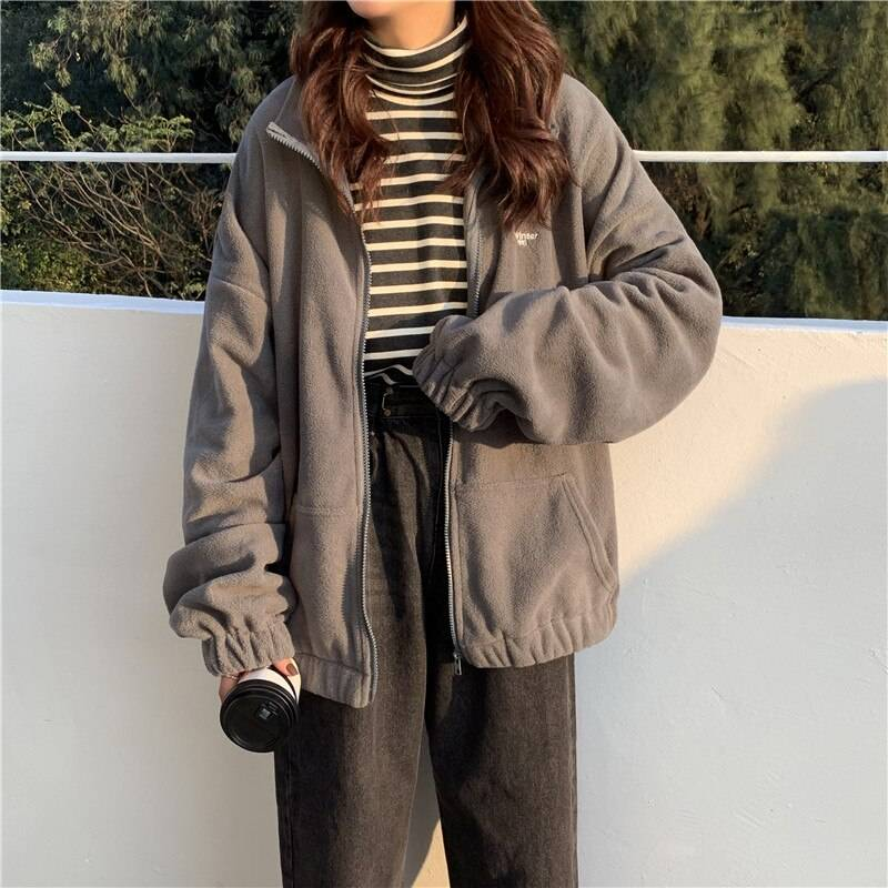 Hoodies Women Zip-up Turn-down Collar Printed Pocket Long Sleeve Korean Style New Trendy Casual BF Ulzzang Harajuku Womens Daily