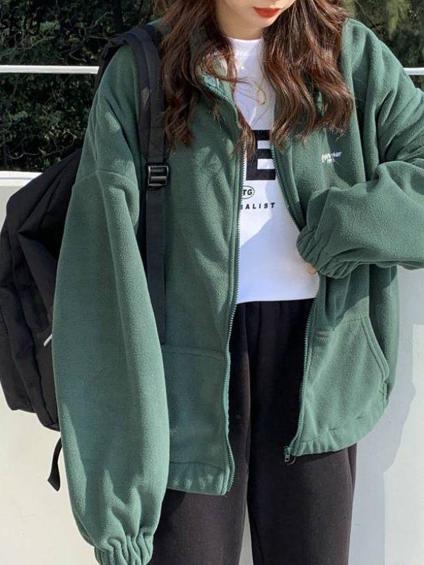 Zip-up turn-down collar printed pocket long sleeve sweatshirt