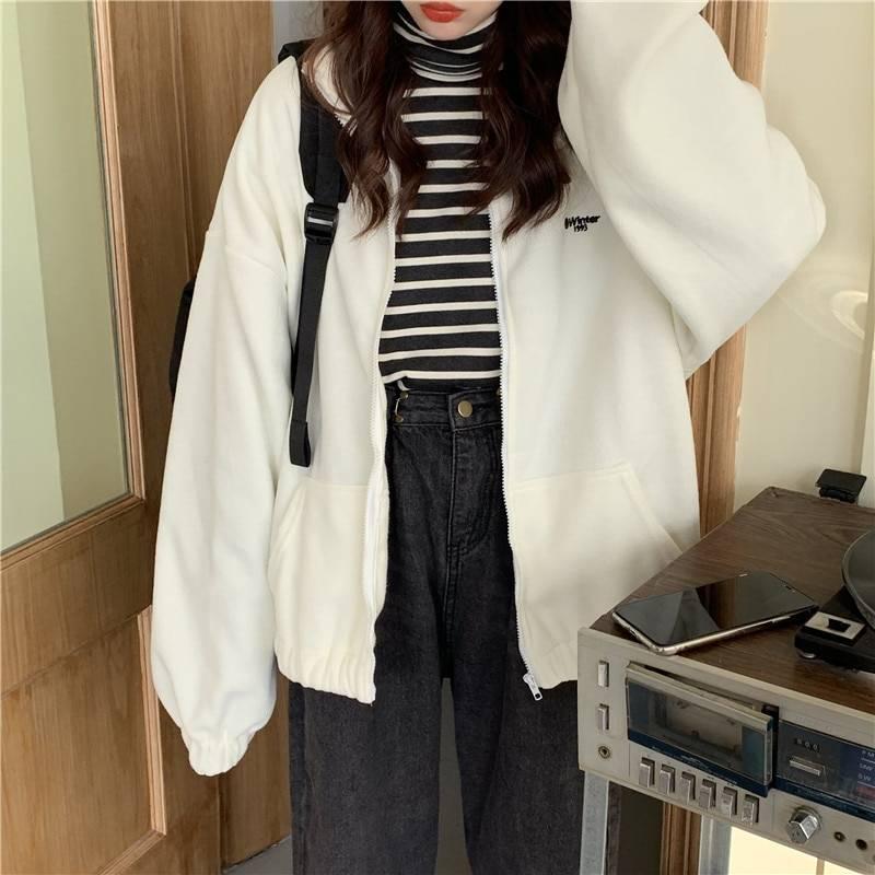Hoodies Women Zip-up Turn-down Collar Printed Pocket Long Sleeve Korean Style New Trendy Casual BF Ulzzang Harajuku Womens Daily