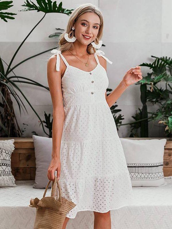 White bow-knot spaghetti embroidery midi dress