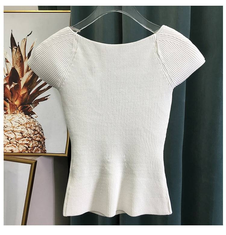 DEAT 2020 new spring sqaure collar sleeveless knitting pullover slim short high waist top female tank WK69001l