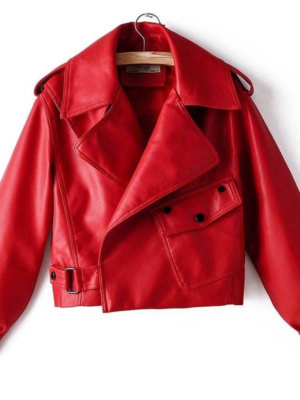 Motorcycle turndown collar loose leather jacket