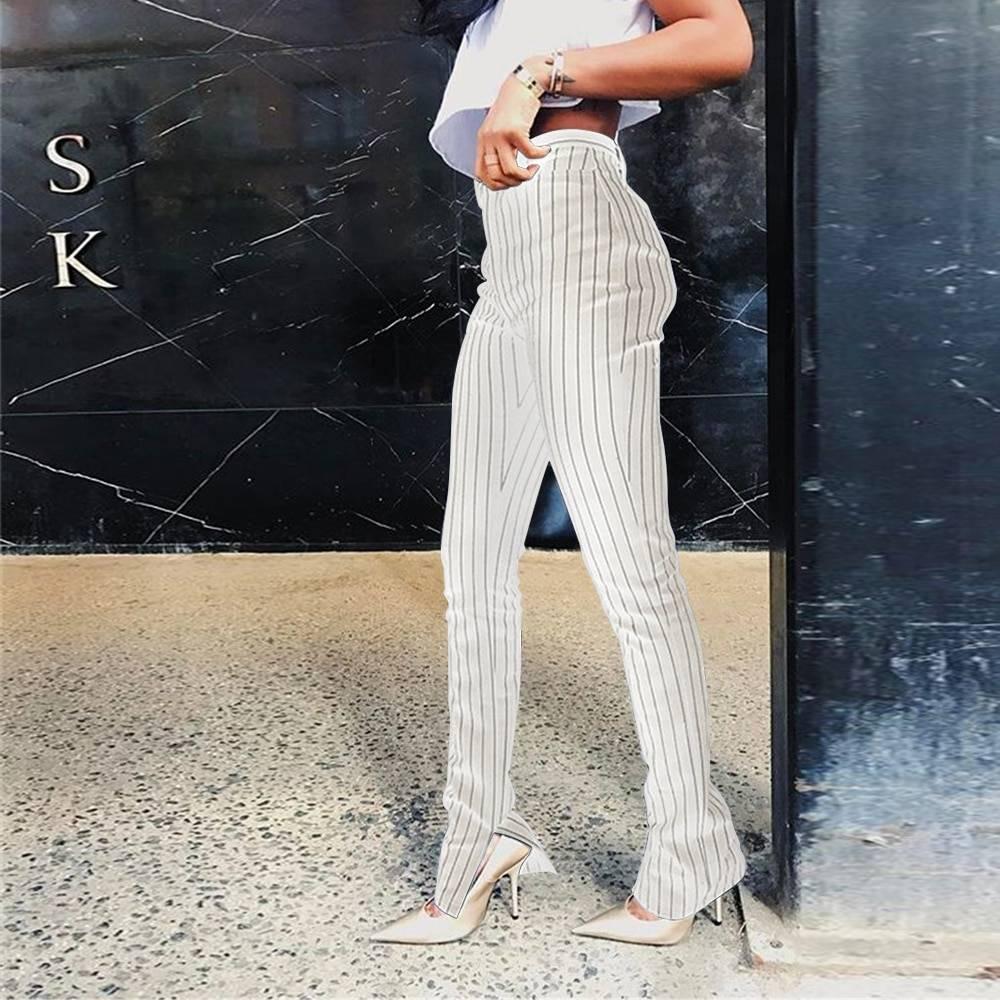 High waist skinny bottom striped trouser