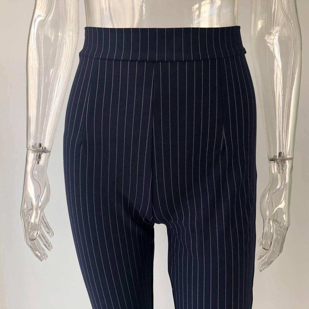 KGFIGU Office pants For women 2020 High waist striped trousers women Side split OL style Skinny long Bottom Have stretchy White