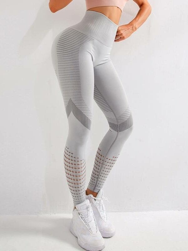Fitness high waist push up patchwork hollow out spandex leggings