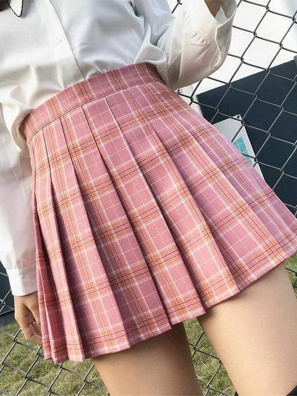 High waist stitching student pleated mini skirt