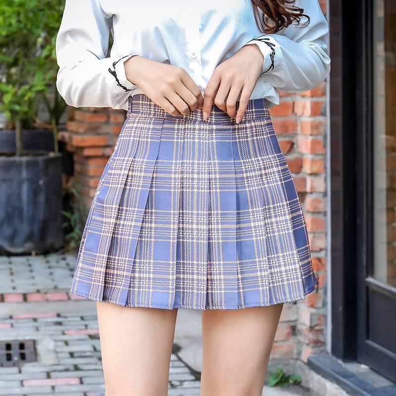 QRWR XS-3XL Plaid Summer Women Skirt 2020 High Waist Stitching Student Pleated Skirts Women Cute Sweet Girls Dance Mini Skirt