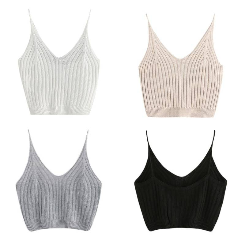 Fashion Women Summer Basic Tops Sexy Strappy Sleeveless Racerback Crop Top 2020 Female Casual Solid Color Ribbed Knit Short Vest