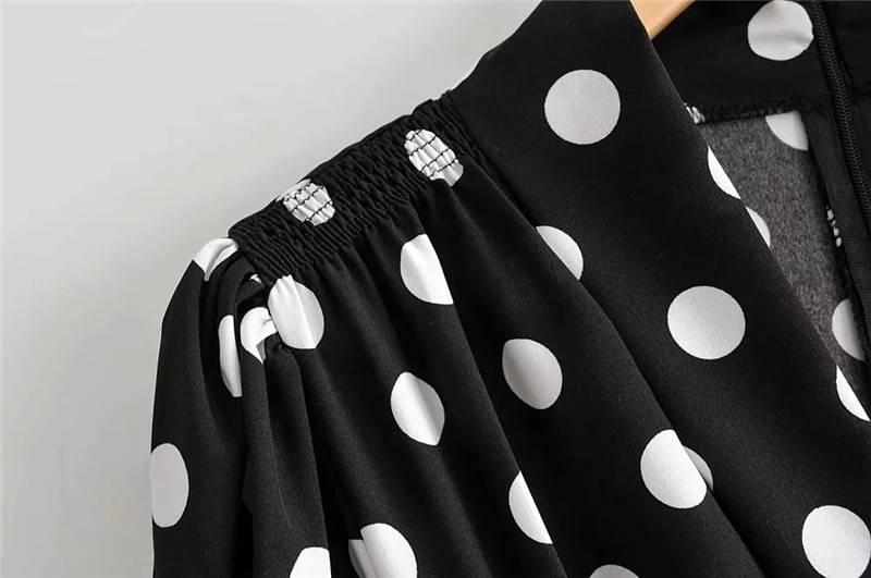 Chic Women Polka Dot Print Fashion Za Black Playsuits 2019 Summer Vintage Long Sleeve High Waist With Belt Short Jumpsuit Femme