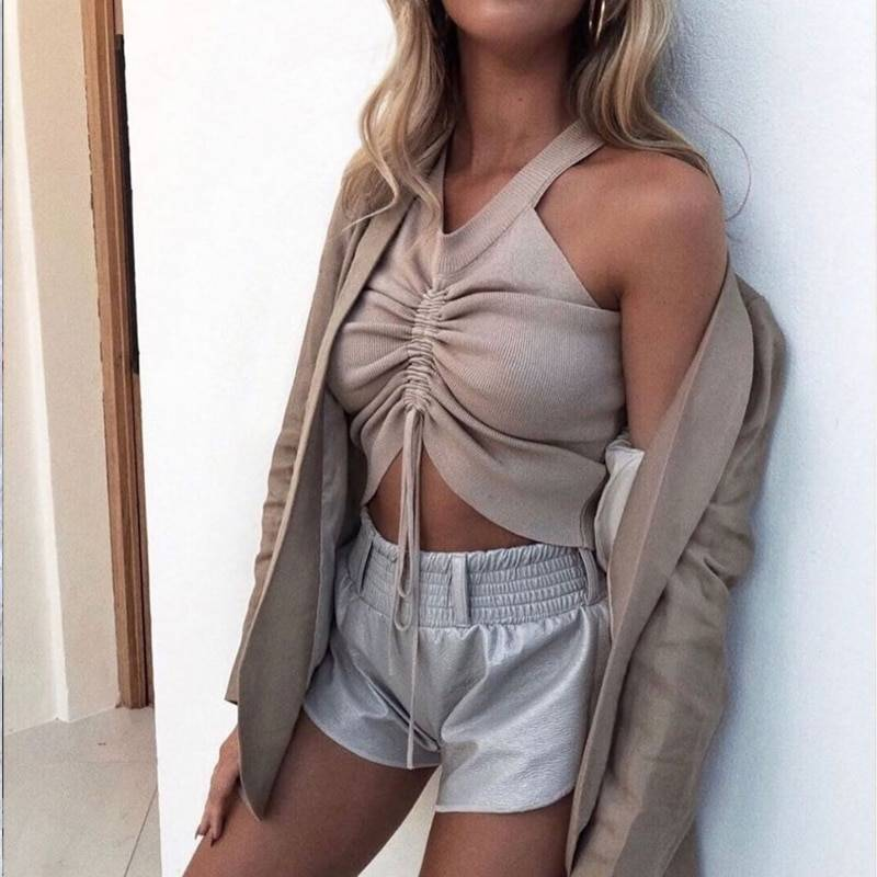 Sleeveless v neck lace up ruched stretch knitted tank top