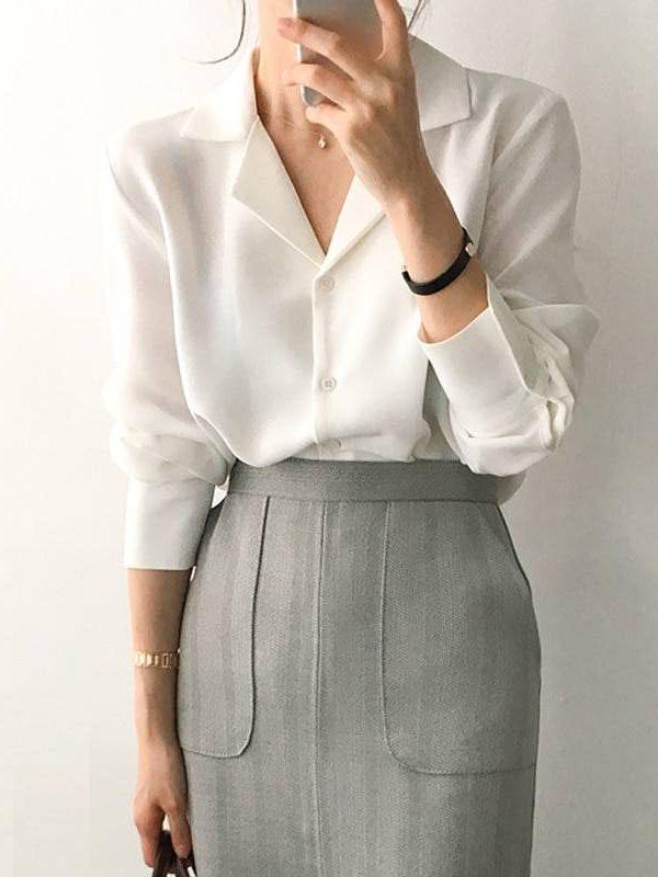 White long sleeve chiffon office blouse shirt