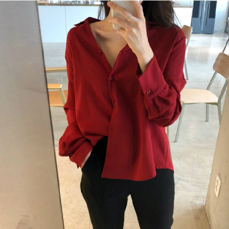 White Long Sleeve Chiffon Office Blouse Shirt 4
