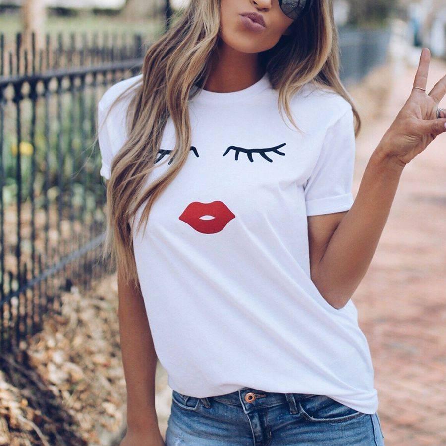 Eye Lashes Red Lips Print Short Sleeve O Neck T-Shirt 7