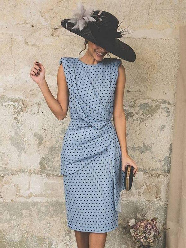 Vintage dot sleeveless sheath bodycon knee length elegant midi dress