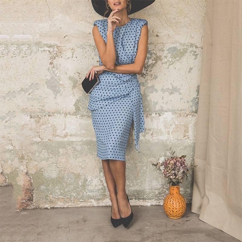 Vintage Dot Sleeveless Sheath Bodycon Knee Length Elegant Midi Dress 9
