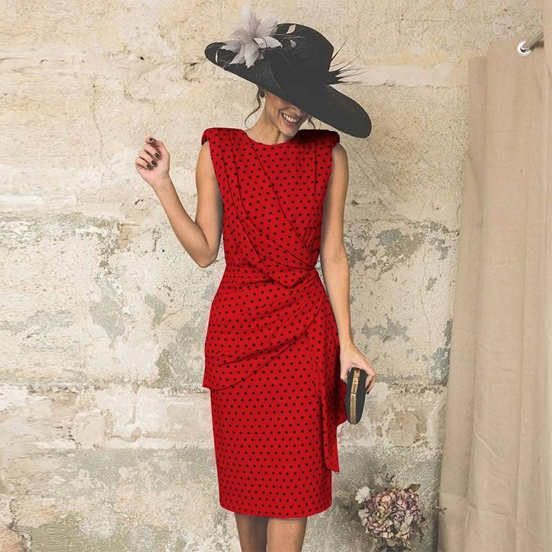 Vintage Dot Sleeveless Sheath Bodycon Knee Length Elegant Midi Dress 12