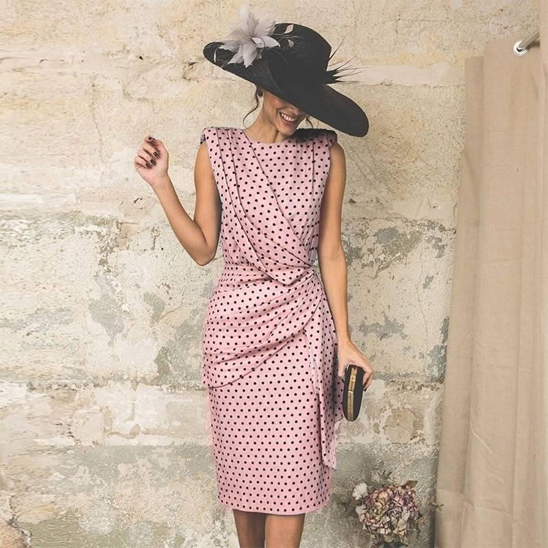 Vintage Dot Sleeveless Sheath Bodycon Knee Length Elegant Midi Dress 11