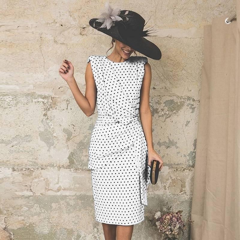 Vintage Dot Sleeveless Sheath Bodycon Knee Length Elegant Midi Dress 10