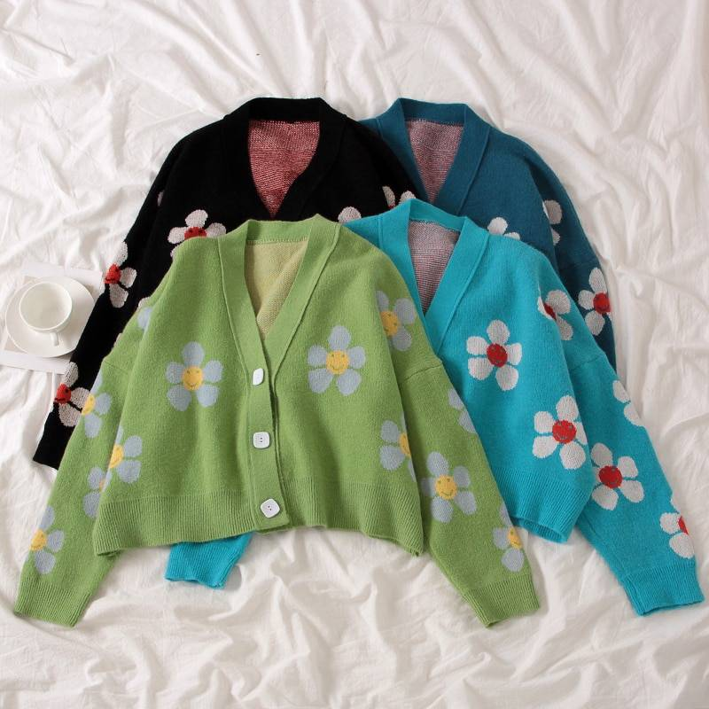 Floral Printing V-Neck Knitted Cardigan Sweater One Size 5