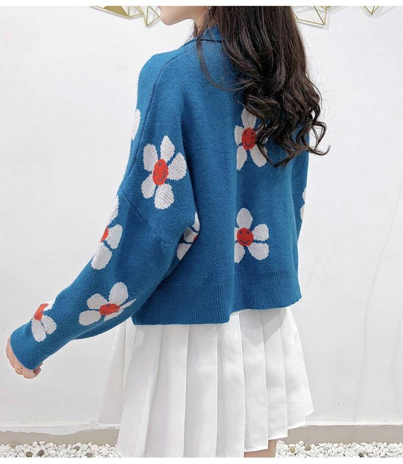 Women's Korean Style Floral Printing V-neck Knitted Cardigans Female Casual Oversized All-match Sweater One Size