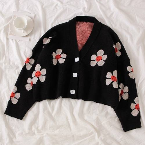 Floral Printing V-Neck Knitted Cardigan Sweater One Size 3
