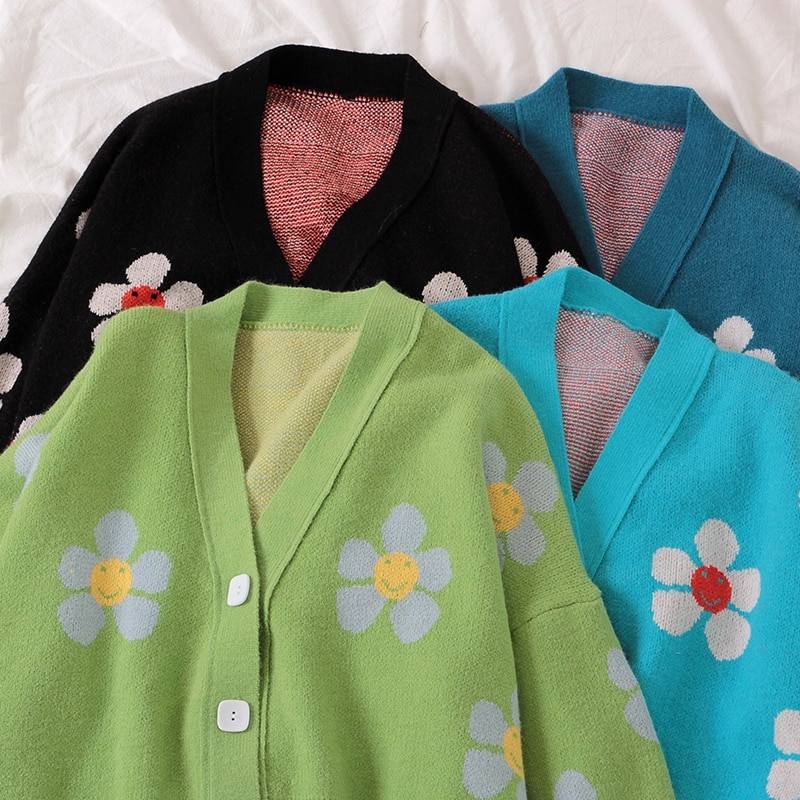 Floral Printing V-Neck Knitted Cardigan Sweater One Size 6