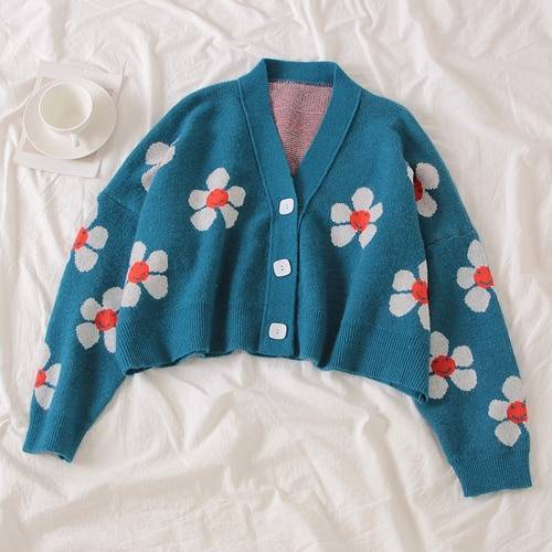 Floral Printing V-Neck Knitted Cardigan Sweater One Size 4