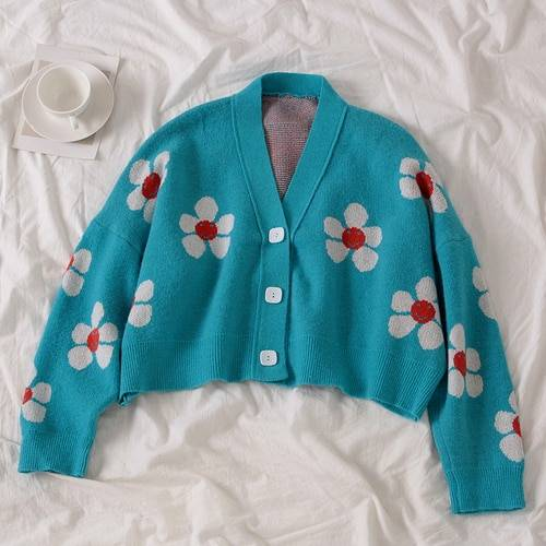 Floral printing v-neck knitted cardigan sweater one size